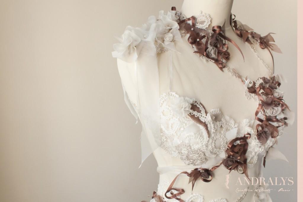 Robe de mariée féerique faite main à Bordeaux