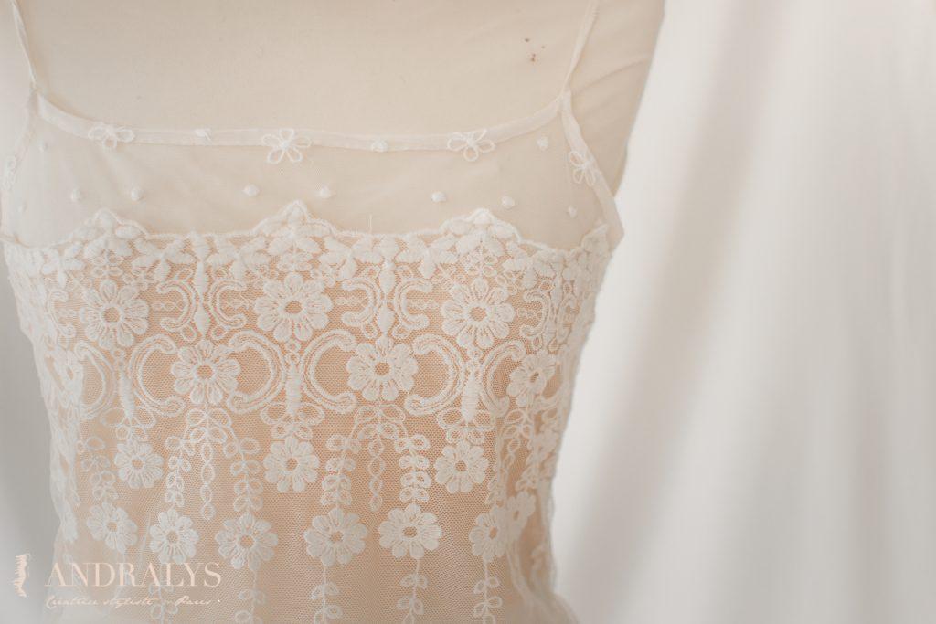 Top de la robe de mariée Rachel sur-mesure à Bordeaux