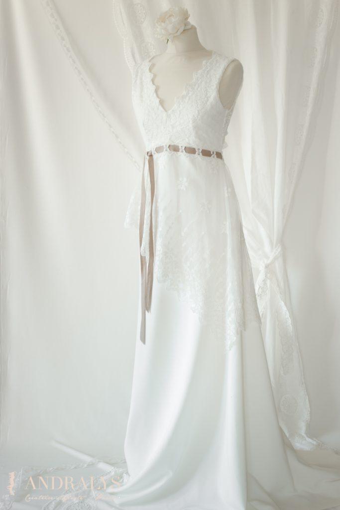 Robe de mariée champêtre bohème Ribye en pied
